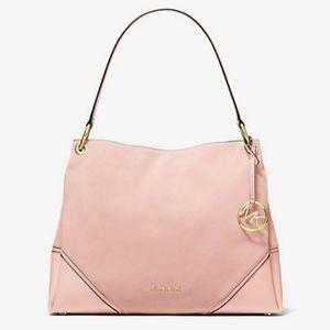 NWT Michael Kors Blossom Pink Nicole Medium Suede Shoulder Bag Style# 35H9GNIS6S